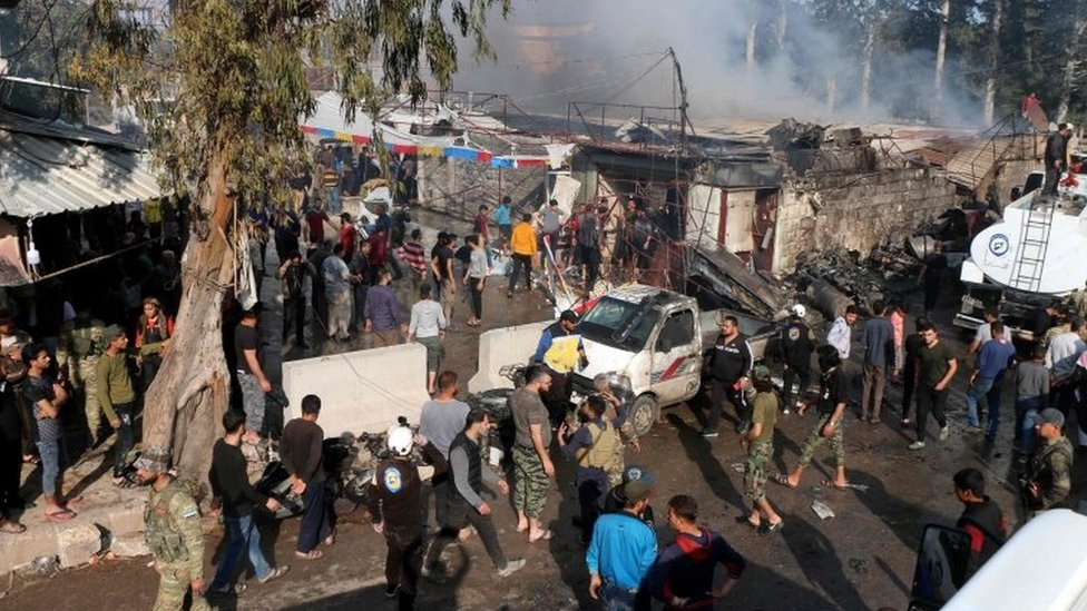 Aftermath of reported truck bomb attack in Afrin, north-western Syria, on 28 April 2020