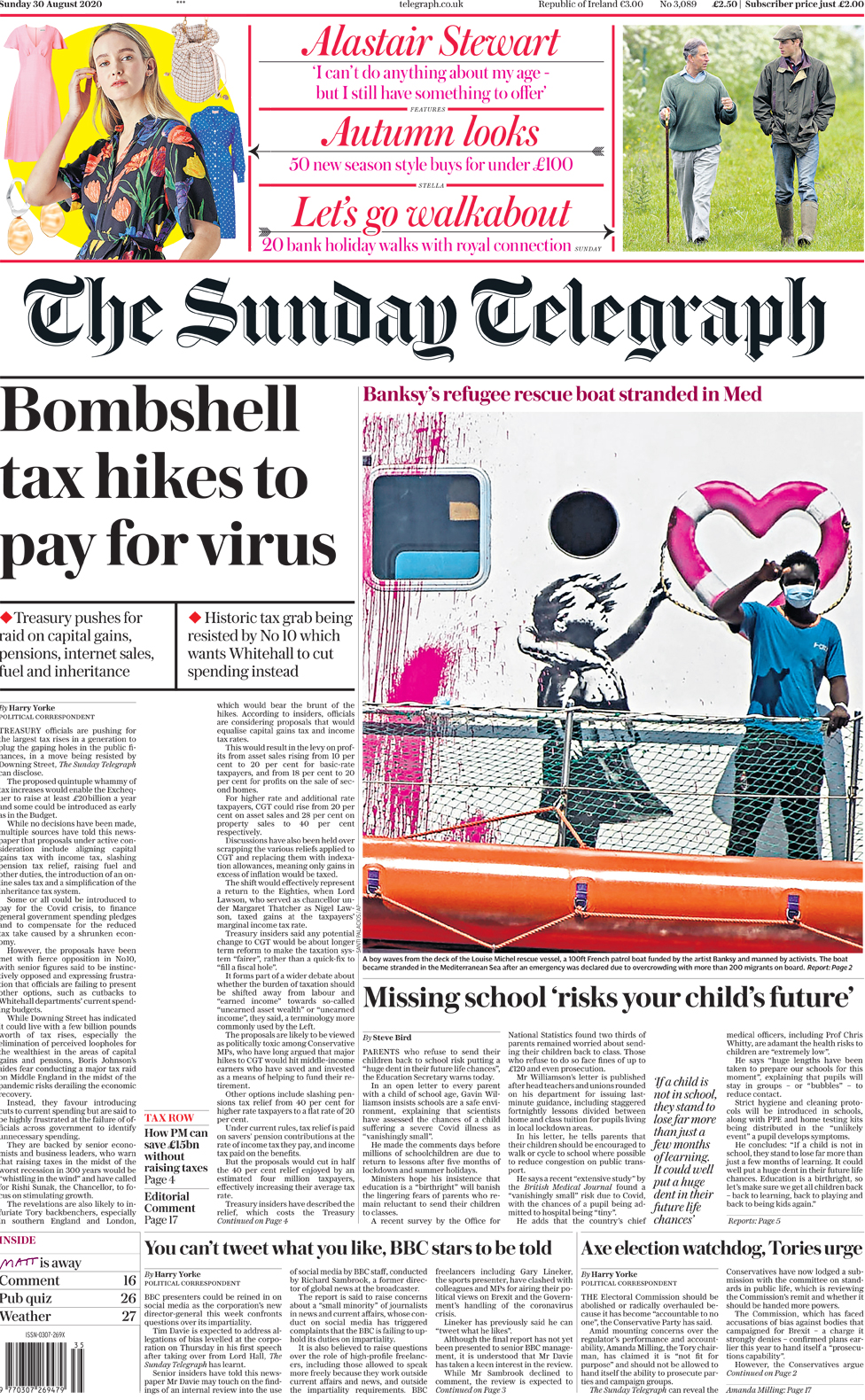 The Sunday Telegraph front page 30 August 2020