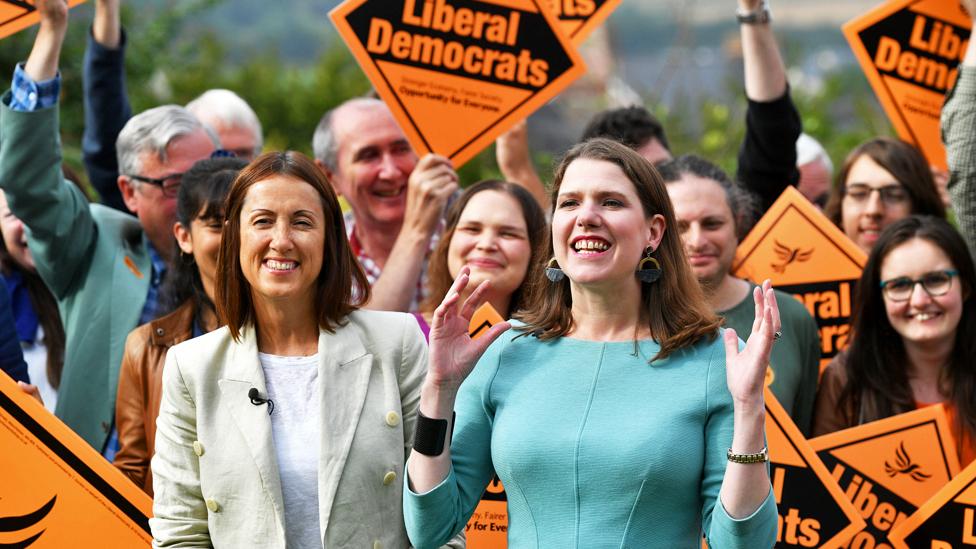 Liberal Democrat leader Jo Swinson and Welsh Liberal Democrat leader Jane Dodds