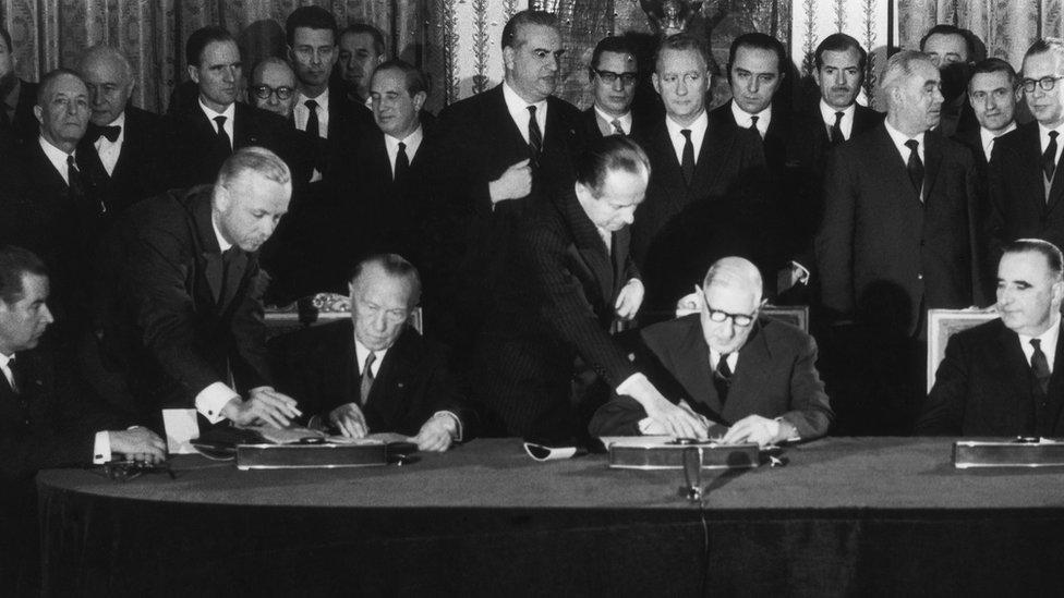 Konrad Adenauer i Šarl de Gol na potpisivanju Jelisejskog sporazuma