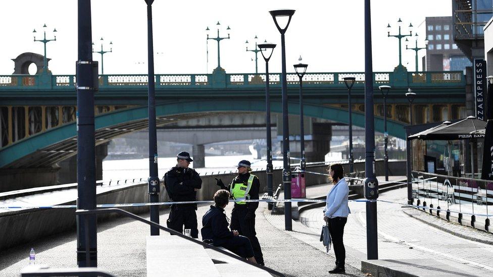 Police cordon at Blackfriars Bridge