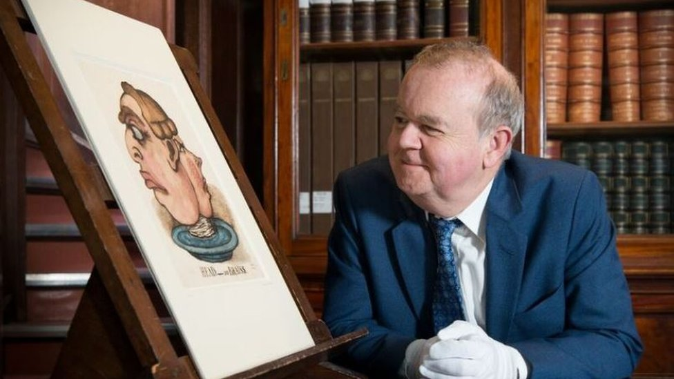 Ian Hislop and a portrait of himself