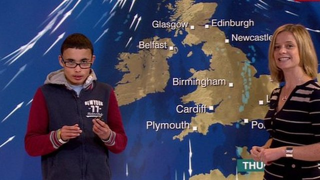 School Reporter and Sarah Keith-Lucas in front of a weather map