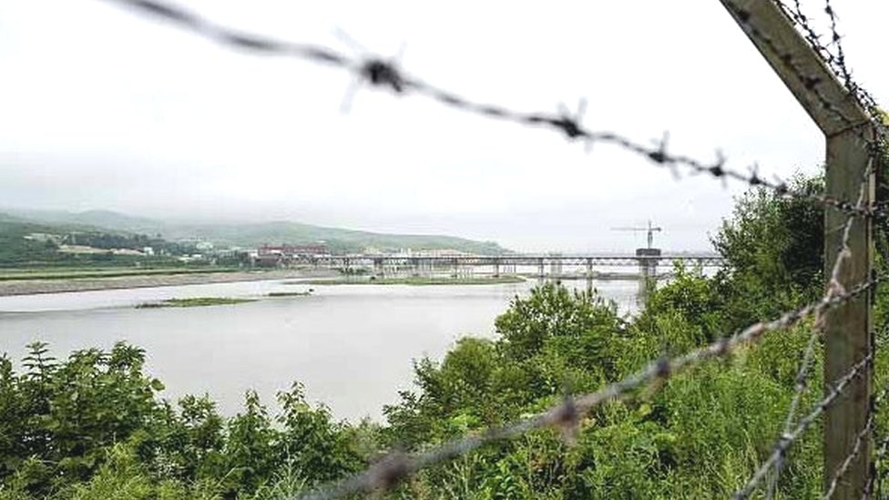 Fences run along the Tumen river