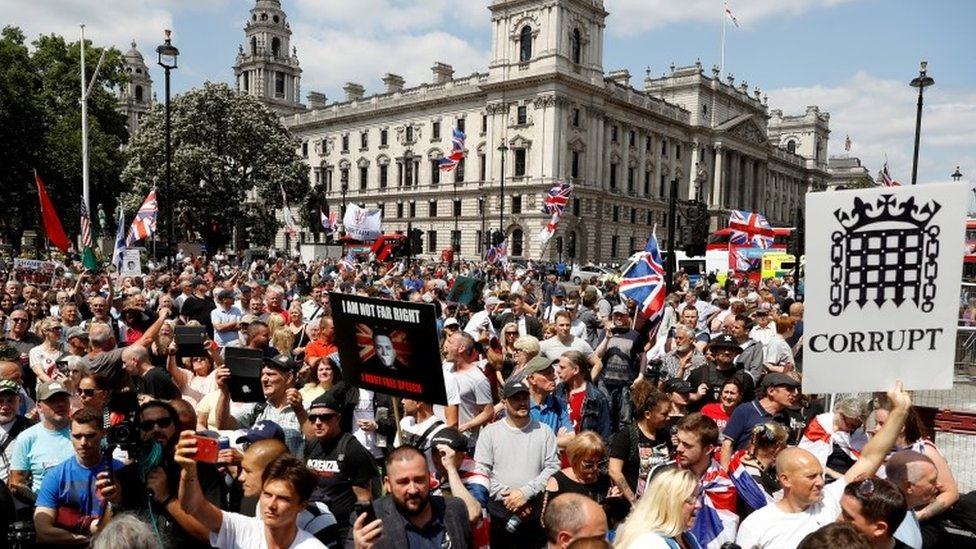 Supporters of Tommy Robinson outside Parliament