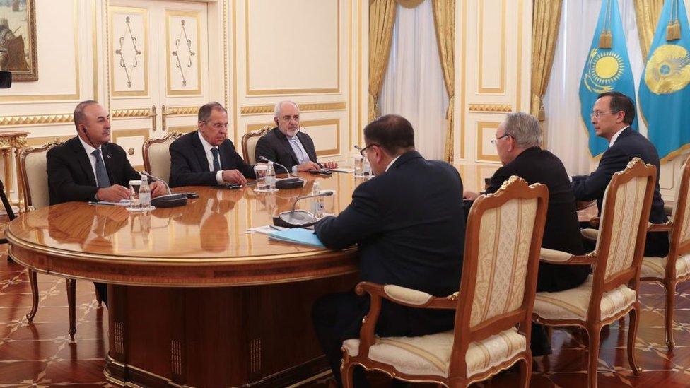 Türkiye Dışişleri Bakanı Mevlüt Çavuşoğlu, Kazakistan Cumhurbaşkanı Nursultan Nazarbayev, Rusya Dışişleri Bakanı Sergey Lavrov ve İran Dışişleri Bakanı Cevad Zarif 16 Mart 2018'de Kazakistan'ın Astana kentinde görüştü