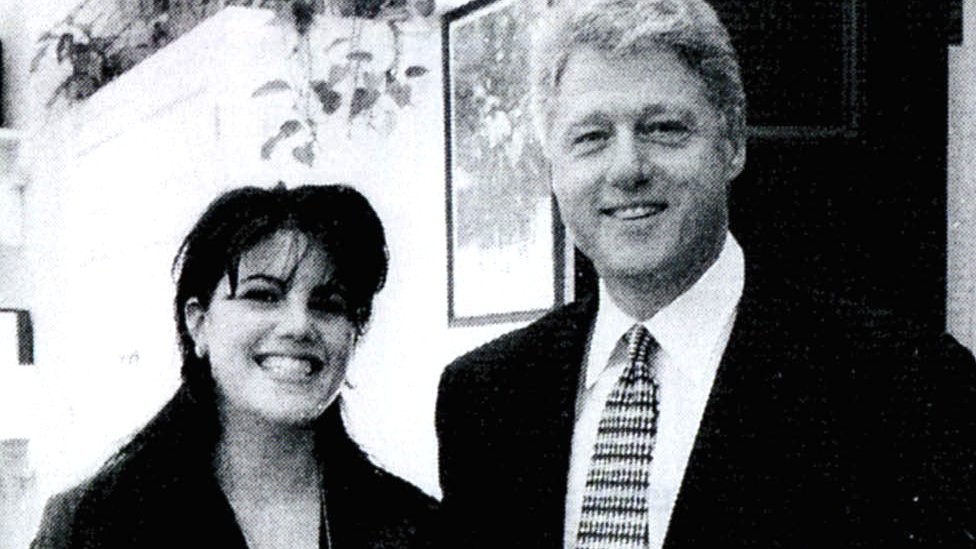Former White House intern Monica Lewinsky with then-President Bill Clinton at a White House, 21 September 1998
