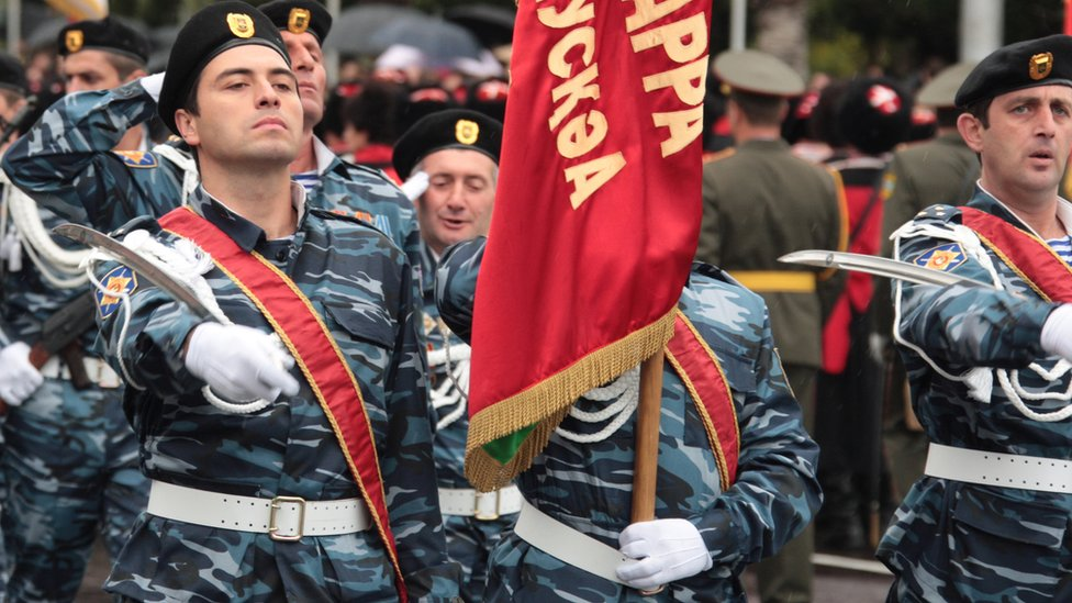 Abkhaz forces on parade, Sep 2013 file pic