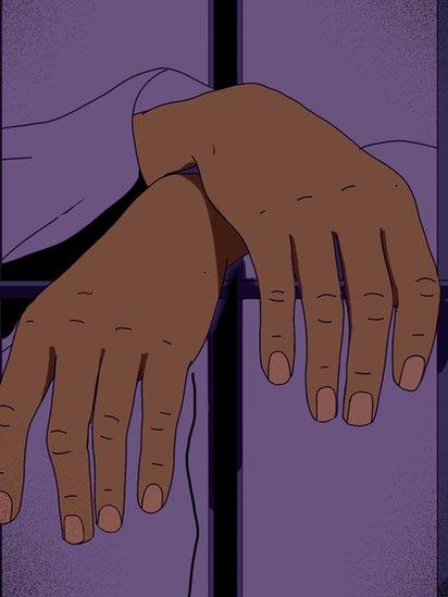 Ilustración de las manos de una mujer tras las rejas.