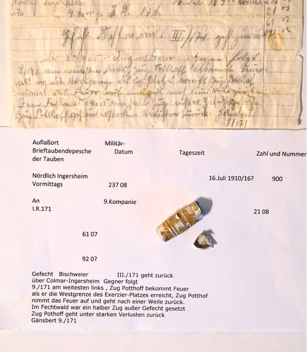 Message sent by German carrier pigeon more than a century ago