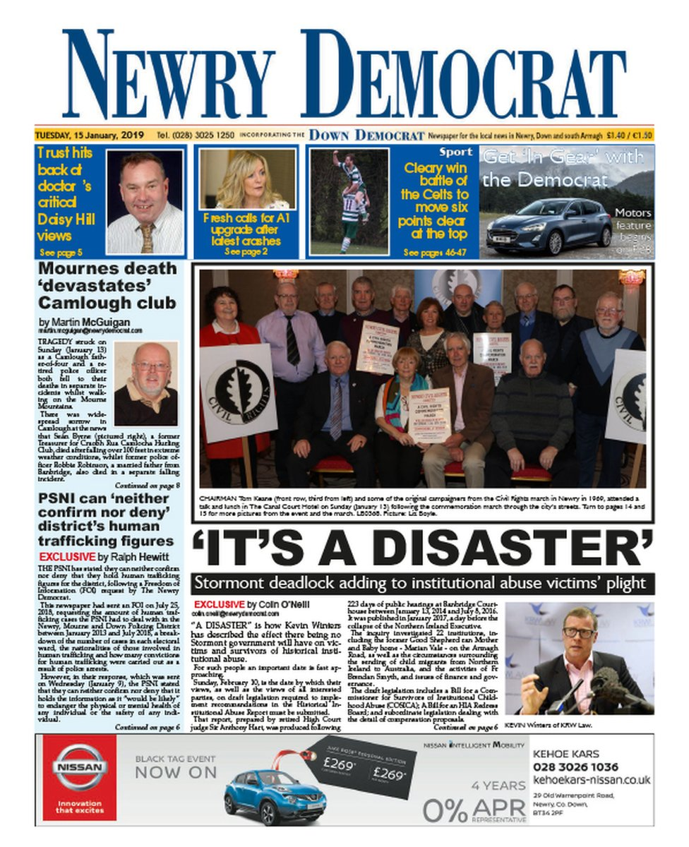 Front page of the Newry Democrat