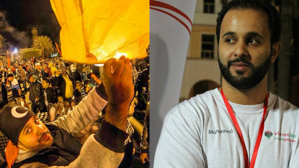 Muhanned Kalash at a protest event (left) and working for a volunteer organisation after Muammar Gaddafi's ousting (right)