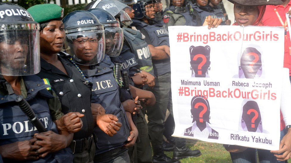 Police at a Bring Back Our Girls demonstration in Abuja, Nigeria
