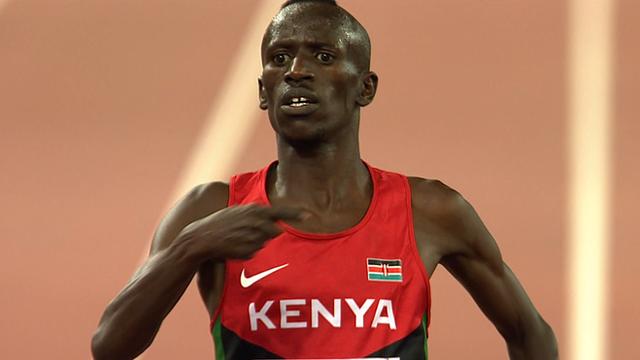 Ezekiel Kemboi celebrates World Championship steeplechase gold
