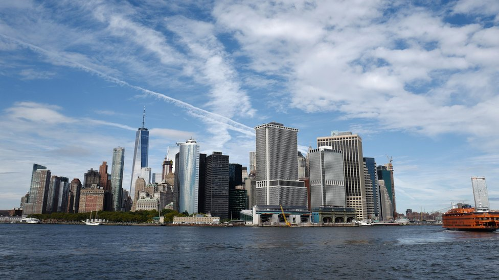 This photo shows a view of the Financial District from a cruise boat on September 27, 2018, in New York.
