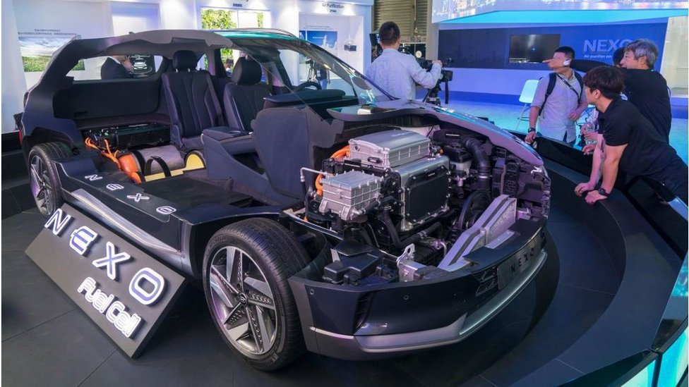 The Nexo, a hydrogen fuel-cell powered car, is exhibited at the Consumer Electronics Show (CES) Asia in Shanghai on June 13, 2018.