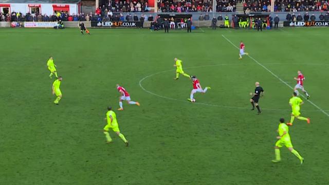 Salford City's James Poole scores a sublime goal