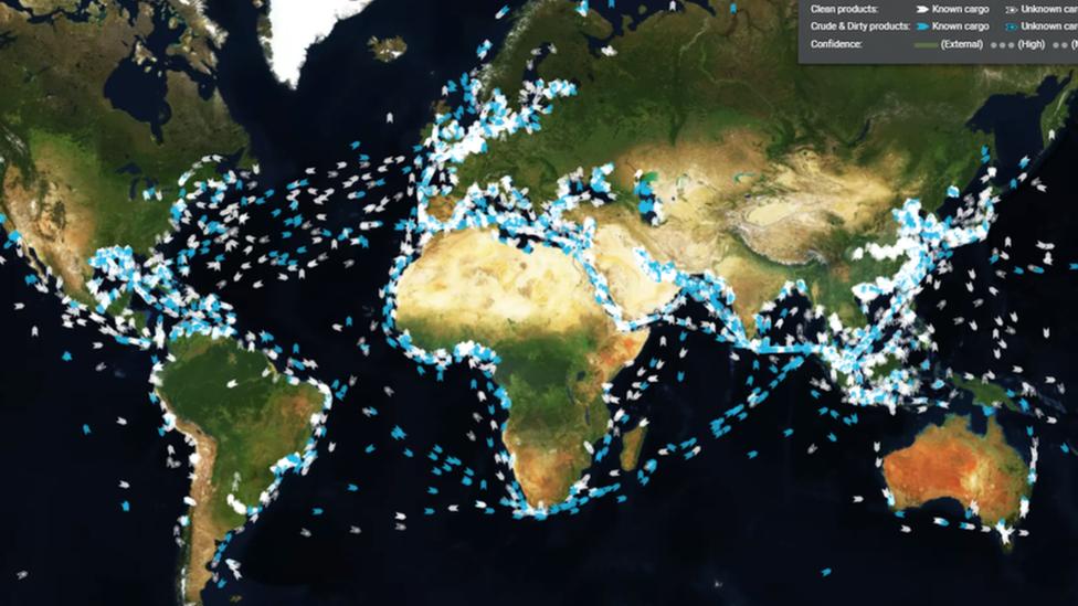 Mapa con la ubicación de petroleros.