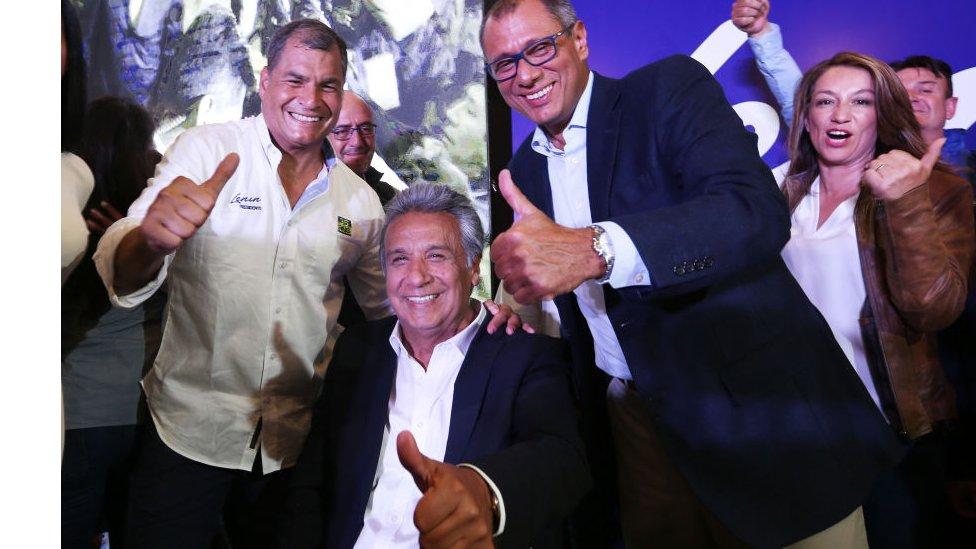 Rafael Correa, Lenín Moreno y Jorge Glass