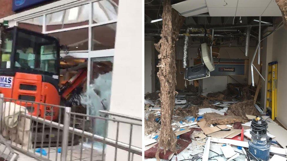 Travelodge digger crash: Man charged over hotel damage