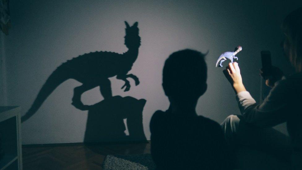 Niño jugando con la sombra de un dinosaurio.