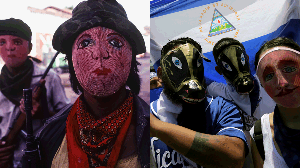 Sandinista fighters with masks in Nicaragua in 1979/Masked opposition demonstrators take part in a nationwide march called 'United we are a volcano', in Managua on July 12, 2018.
