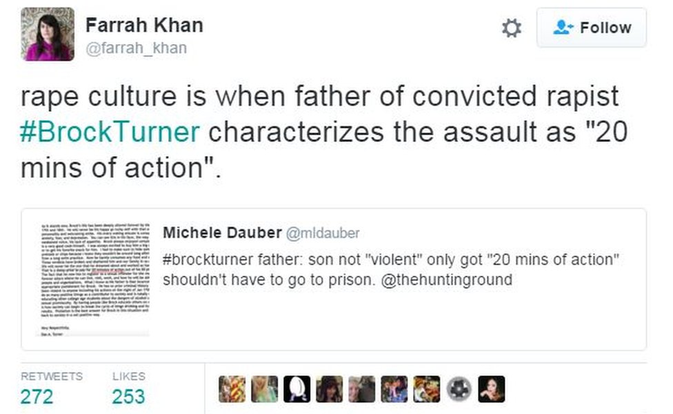 "Screen grab from Twitter user Farrah Khan reads: ""Rape culture is when father of convicted rapist #BrockTurner characterizes the assault as '20 mins of action'"""