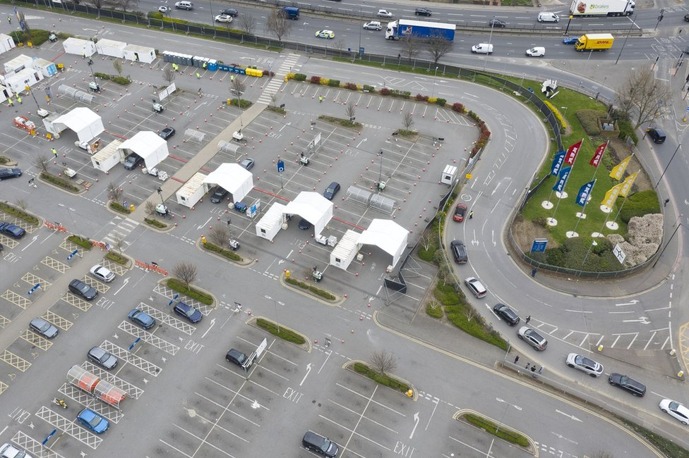An aerial view of pop up coronavirus testing centres