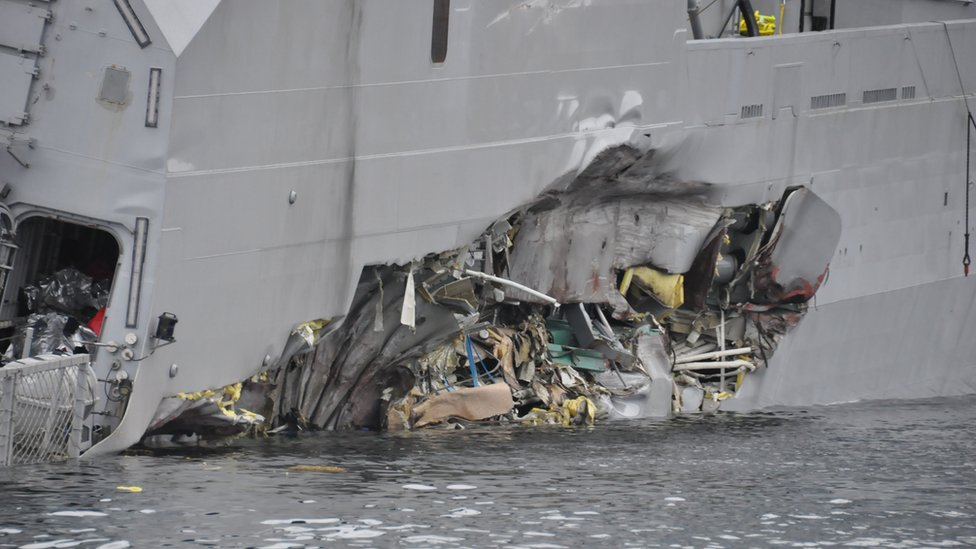 Damage to the Helge Ingstad (picture courtesy of Norwegian armed forces)