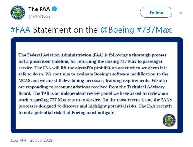 FAA tweet