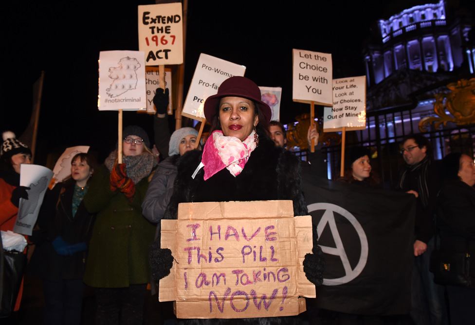Pro Choice activists rally outside City Hall on January 15, 2016 in Belfast, Northern Ireland.