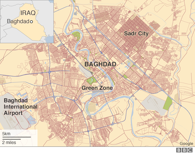 Map of Baghdad, showing location of Sadr City