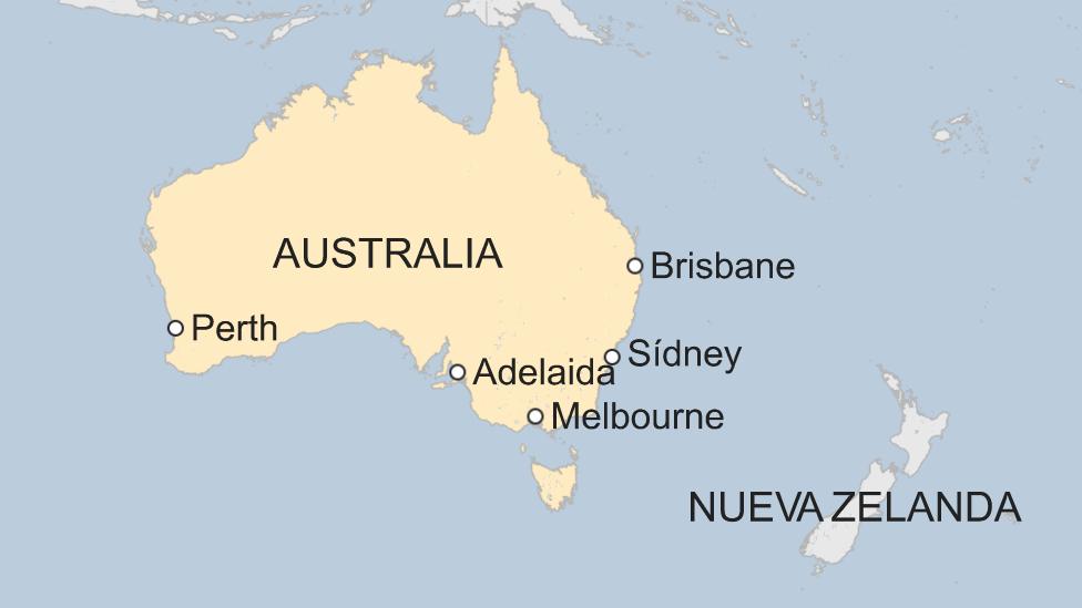 Mapa de Australia con las ciudades más pobladas.