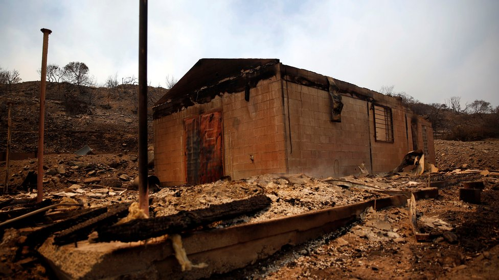Burned building at the Cajon Pass
