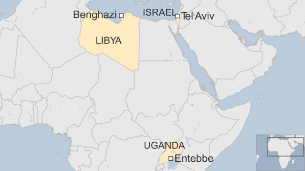 Map showing Israel, Libya and Uganda