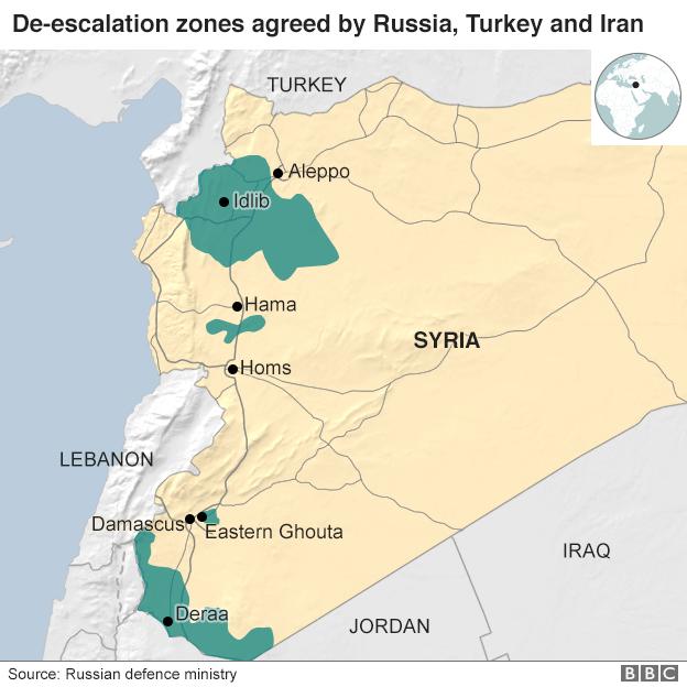 Map showing proposed de-escalation zones in Syria
