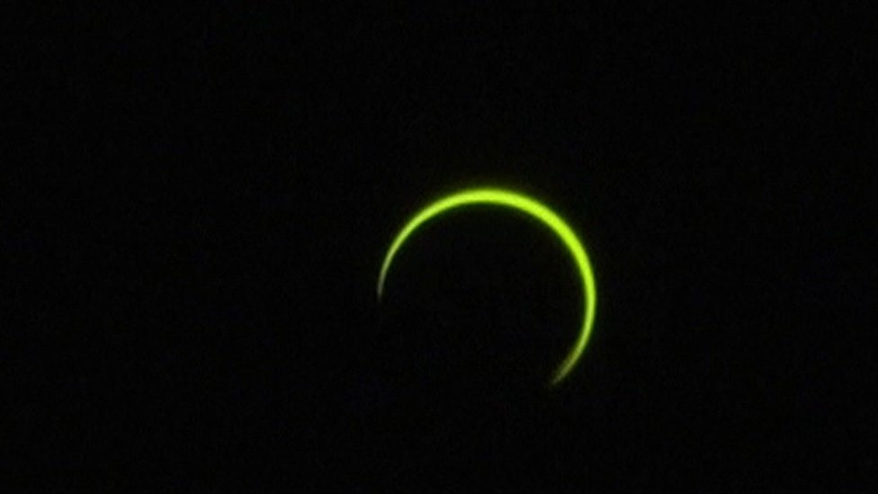 The eclipse, as seen from Reunion Island