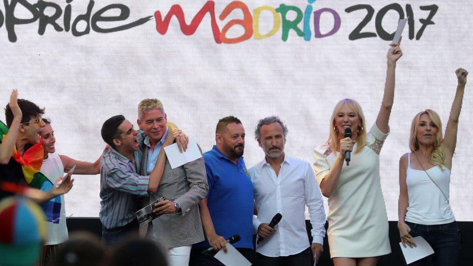 Boris Izaguirre en la fiesta del orgullo gay de Madrid.