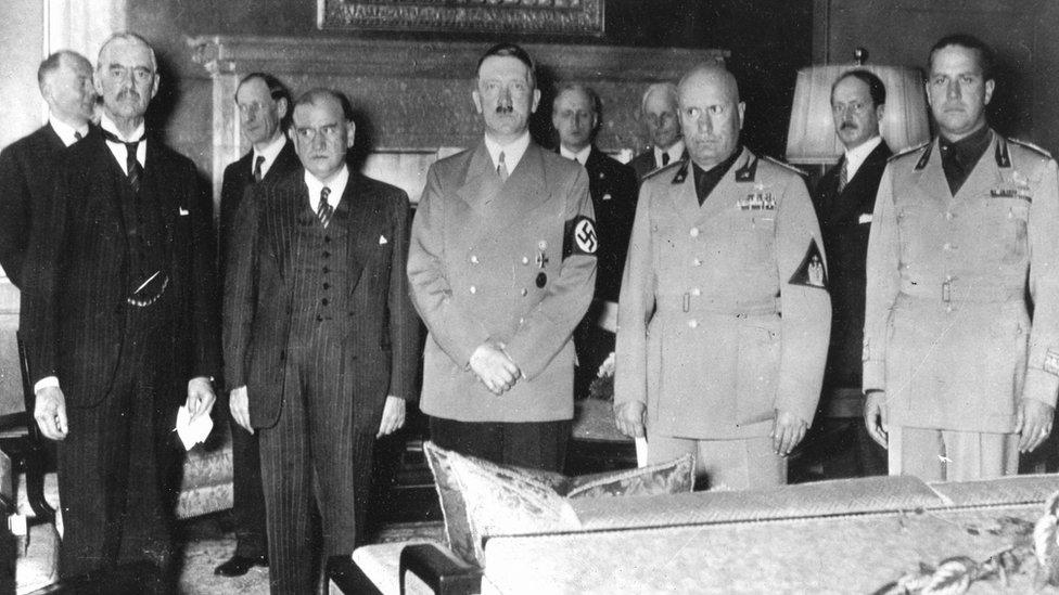 Líderes europeos en Conferencia de Paz de 1938.