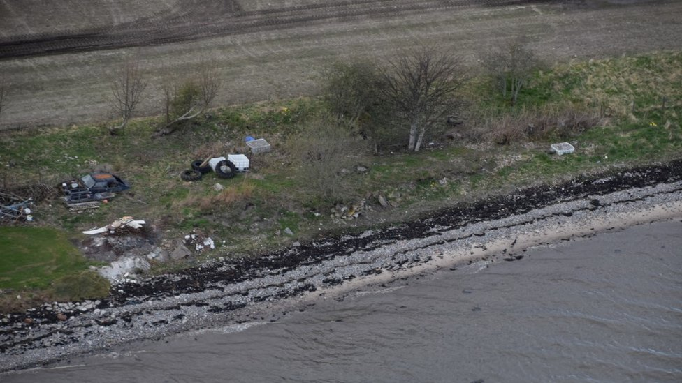 litter on Cromarty Firth coast