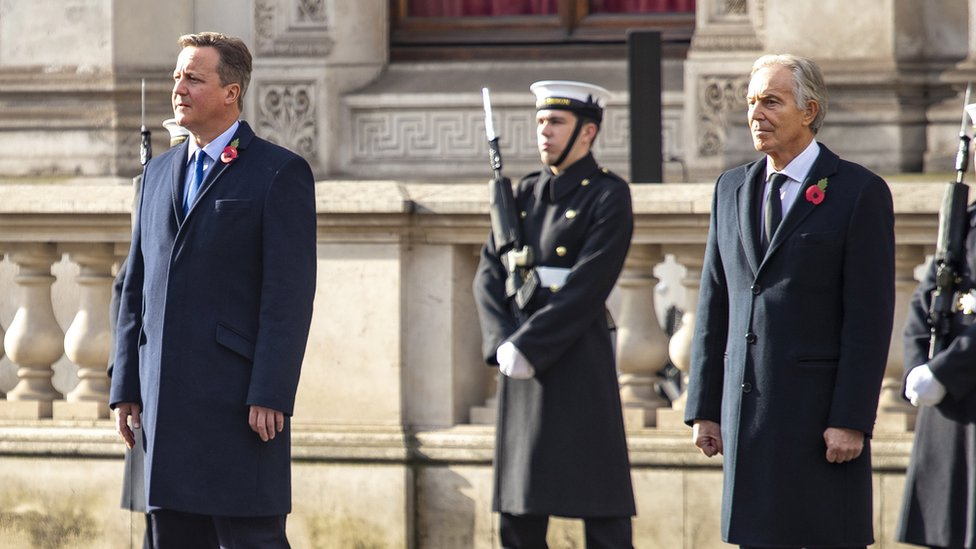 David Cameron and Tony Blair during the National Service of Remembrance Sunday