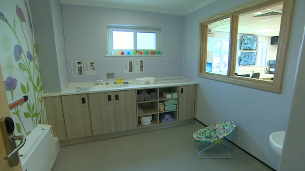 Baby changing facilities at mother and baby unit
