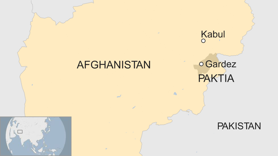 A map showing the city of Gardez in Afghanistan