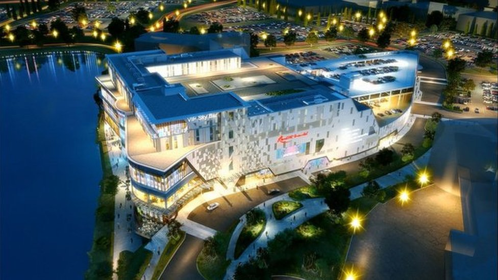 A computer-generated image of Resorts World Birmingham