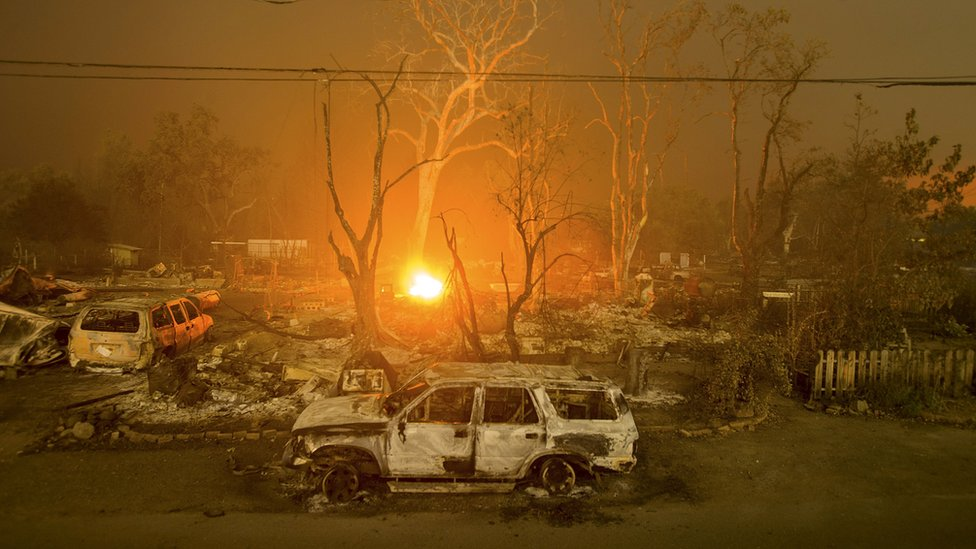 Burned out cars in Middletown, California on 13 September 2015