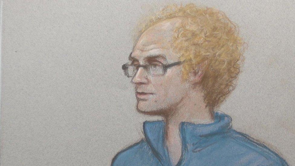 Court sketch of Matthew Falder