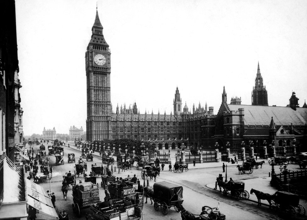 The Houses of Parliament and Big Ben seen from Parliament Square