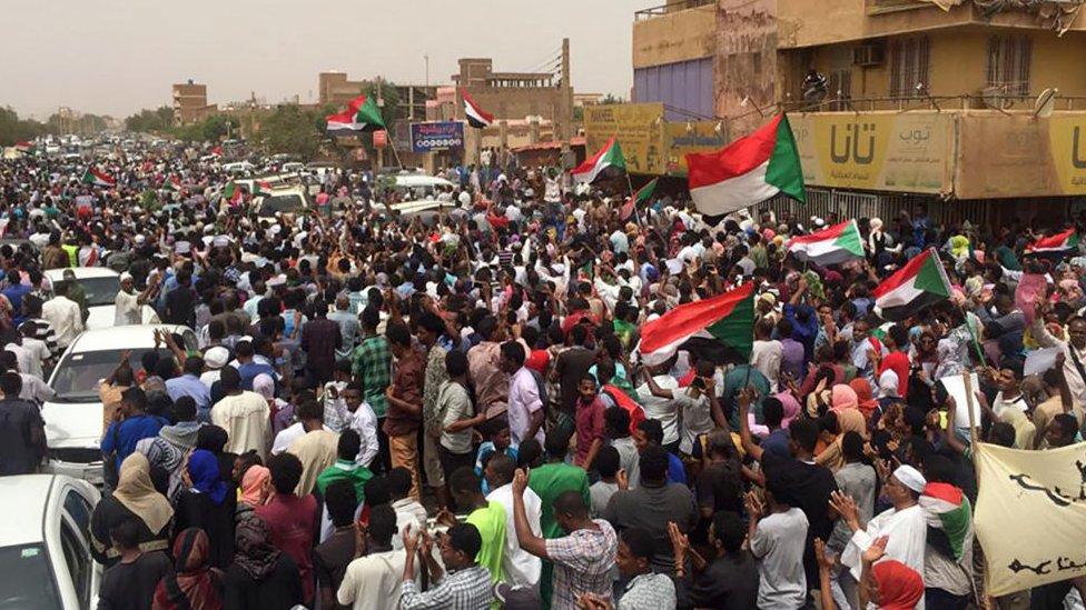 Sudanese protestors chant slogans demanding civilian rule on 30 June, 2019 during a rally in Khartoum.