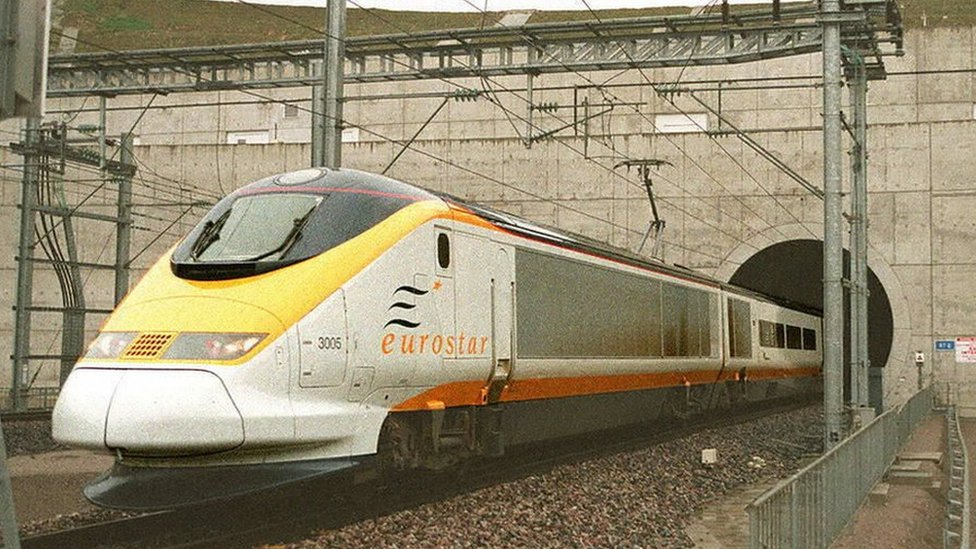 The first Eurostar commercial train leaving the Channel tunnel en route to Paris on 14 November 1994