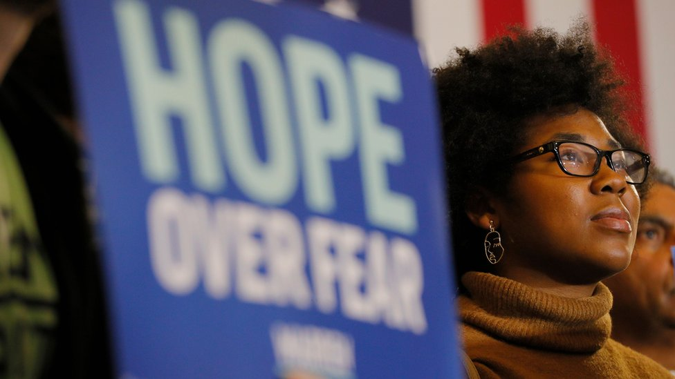 A supporter of Democratic 2020 U.S. presidential candidate Senator Elizabeth Warren